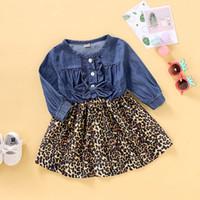 Wholesale leopard print dresses for kids resale online - girls dress kids dresses for girls Toddler Kids Baby Bow Denim Jeans Dress Leopard Print Princess girl vestidos