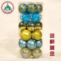 bolas de adornos de navidad azul al por mayor-6cm de la bola de Navidad adornos de bolas de oro azul Merry Christmas Decorations Palline natale bolas que cuelgan del árbol