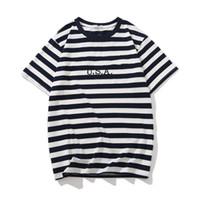 calças de brim camiseta venda por atacado-Jeans EUA Mens Listrado T camisas de Verão Moda Bordado Designer Tees Mangas Curtas Tops Roupas