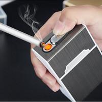 sigaralar kasası tutucusu toptan satış-Taşınabilir USB Elektronik Çakmak Kutusu Çakmak Ile 20 adet Ağızlık USB Şarj Erkekler Için Çakmak Alet