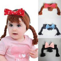 Wholesale baby bow bear resale online - 12 Styles Baby Girls Bow Headbands Children scorpion Hair Band wigs dot bow Hairbands bear duck Headband kids Hair Accessories M467