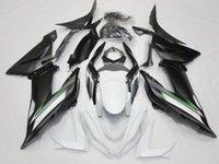 carenados de zx blanco al por mayor-Mate Negro Blanco Carrocería del carenado Kit para Ninja ZX-6R ZX636 2013-2014