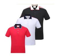 moda de la marca del polo al por mayor-2019 Italia marca diseñador polos hombres casual polo camiseta serpiente abeja bordados florales polos de moda clásico polo de lujo camisas