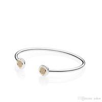 braceletes de pulseira de 14k venda por atacado-14 K Ouro Amarelo CZ Diamante Disco Aberto Bangle Bracelet Set Caixa Original set Para Pandora 925 Sterling Silver Cuff Bracelets para mulheres