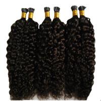 örgü kıvırcık saç uzantıları toptan satış-Sınıf 7a Işlenmemiş Bakire Moğol Sapıkça Kıvırcık Saç İtalyan keratin Füzyon Sopa Ben IÇIN İnsan Saç Uzantıları Afro Kinky Kıvırcık Saç 100 s