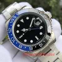 relógio de homens cerâmica bezel venda por atacado-Preto Azul Cerâmica Bezel Designer Bracelete Jubileu Mecânico Automático 2813 Gmt Homens Luxo Mens Watch Relógios De Pulso Moda Relógios