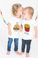 Wholesale french girl clothes baby for sale - Group buy Summer baby t shirt hot sale Best Friend short sleeve white t shirt creative Hamburgers French fries printed baby boy girl summer clothes