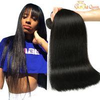 indian hair weave venda por atacado-8A Mink Brasileira Feixes de Cabelo Em Linha Reta Cor 1B 2 4 Cabelo Virgem Brasileiro Em Linha Reta Peruano Malaio Indiano Extensões de Cabelo Humano Weave
