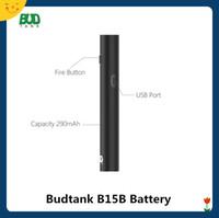 değişken voltajlı e ak piller toptan satış-Budtank B15B Ön Isıtma VV Pil 290 mAh USB Geçiş Değişken Gerilim Vape Kalem E Çiğ Buharlaştırıcı 510 Kartuşları için Otantik
