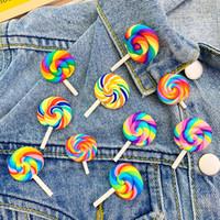 arco-íris venda por atacado-8 estilos Brasão Colorful Rainbow Lollipop emblema doce sweater broche casaco vestido Pin Broches Mulheres Homens Pinos bonitos