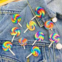 лунная свадьба оптовых-8 Стилей Красочной Радуги Lollipop Брошь конфета Badge Coat свитер платье куртка Pin Брошка Женщины Мужчина Симпатичный Pins