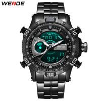 Wholesale clock cases for sale - Group buy WEIDE Mens Military Chronograph Alarm Automatic Date Clock black metal case belt bracelet Strap Sport Model Relogio Wristwatches