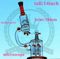 Wholesale microscope pipe for sale - Group buy glass factorys matrix color microscope glass bong splash guard rockets Percolator color pink water pipe Such an intricate double
