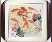 рыболовство ремесла оптовых-Handmade Art Crafts 100% шелковицы шелковицы закончена Сучжоу Вышивка не включает в себя рамку, свадебные подарки рыбки картина 2, 35 * 35 см