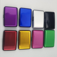 Wholesale waterproof id holders resale online - Aluminium Alloy Security Credit Card Wallet Metal Waterproof Box Cases Business ID holders Bank Card Pocket Storage Card position