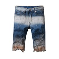 джинсы цветные мужские оптовых-DSQPLEIND2 New Italy Style #542# Mens Stretch Moto Distressed Paint Oiled Colored Washing Shorts Jeans Size 29-42 Men's Shorts