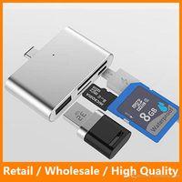usb 3.1 c hub toptan satış-USB 3.1 Tip C Kart Okuyucu Yüksek Hız Tipi C HUB SD Kart Okuyucu Adatter C Tipi Andriod TF Hafıza Kartı için