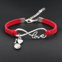 Wholesale jewelry discounts for sale - Group buy Red Leather Suede Bracelet Single Layer Silver Color Infinity Love I Heart Volleyball Special Jewelry For Women Men Day Gift Big Discount