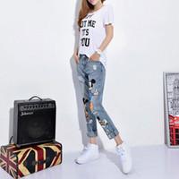 mulher mais tamanho calça jeans venda por atacado-Mulheres Jeans Casual Denim Na Altura Do Tornozelo-Comprimento Do Namorado Calças Mulheres Calças de Impressão Harem Pants Casuais Feminino Plus Size 4xl 5xl