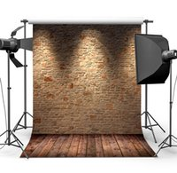 Wholesale photography wall backdrops online - Brown Brick Wall Backdrop Silk Seamless Photography Background With Lights Studio Photo Booth Prop Customize