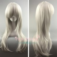 Wholesale special wigs for sale - Group buy Anonymous Anna high end rose net anime wig silver white CM long straight hair Special offer A2022