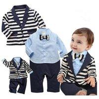 trajes de chaleco azul al por mayor-Traje de dos piezas recién nacido Nueva algodón de manga larga del caballero de los niños ropa de bebé de una sola pieza infantil Ropa mameluco de los mamelucos del mono