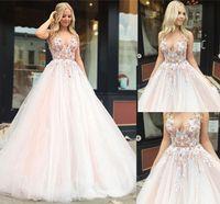 ingrosso rosa fluffy più vestiti di formato-2019 Sweet Pink A-line Abiti da sposa scollo av Fiore Applique Pizzo Fluffy Tulle Abiti da sposa Plus Size Su misura