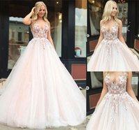 vestidos rosa macios mais tamanho venda por atacado-2019 sweet pink a linha de vestidos de noiva com decote em v flor applique lace fofo tule vestidos de noiva plus size custom made