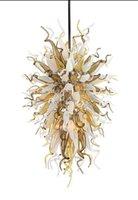 lüks otel kolye lambaları toptan satış-Lüks Pretty Avize Modern Sanat Dekor Kolye Işık Chihuly Stil El Üflemeli Murano Cam Otel Avize Aydınlatma
