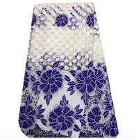 ingrosso african lace fabrics-Zy001 pizzo africano ricamato tessuto di alta qualità per nigeriano abito da sposa, solubile in acqua pizzo con perline pizzo guipure cavo