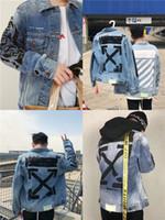 ingrosso giacche di jeans per le donne-19ss lussuoso marchio di design OFF Arrow spruzzata di inchiostro verniciato porta vento graffiti giacca da jeans Uomo Donna Streetwear di moda traspirante all'aperto