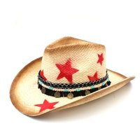 Wholesale handmade straw hats for sale - Group buy Handmade Weave Straw Women Western Cowboy Hat With Tassel Ribbon Star Lady Dad Sombrero Hombre Cowgirl Jazz Caps Size CM