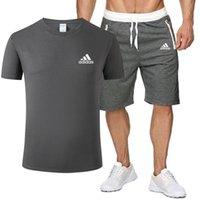 ingrosso maglietta elegante degli uomini-adidas New 2019 Tuta sportiva casual elegante T-shirt e pantaloncini da uomo da uomo Abbigliamento sportivo da jogging Training M-XXL