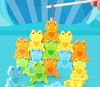 Wholesale music fishing resale online - Cross border supply of children s toys magnetic frog fishing music game wooden baby educational toys