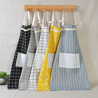 Wholesale home cooking tool online - Plaid Lace Apron Korea Adjustable Kitchen Cooking Apron Unisex Kitchen Cook Apron With Pockets Home Textiles Tool WX9