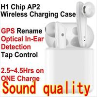 Wholesale headband earbuds resale online - TWS H1 chip Generation AP2 Wireless charging Bluetooth Headphones earphones pop up siri rename GPS Earbuds PK i12 i10 i500 W1 pro