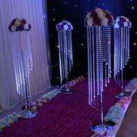 cortinas de cristal venda por atacado-Decoração chumbo Crystal Prism Beading Ornamento Estrada casamento acrílico cristal octogonal grânulo cortina Europa Partido central do casamento 10m / Lot