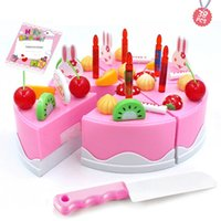Wholesale toys cake for children for sale - Group buy Pretend Play Fruit Birthday Candle toy set for children Cake Cutting Music Lights Casual Kitchen Food Toys