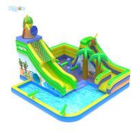 tobogán de agua para niños al por mayor-Parque de atracciones inflable popular del agua del tobogán inflable de la piscina del precio barato para los niños y el adulto