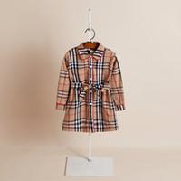 coreano crianças modelos venda por atacado-2019 modelos de Explosão comércio exterior roupas infantis primavera e no outono meninas Coreanas cardigan vestido de Lapela camisas longas das crianças