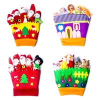 Wholesale glove puppet cartoon resale online - Cute Cartoon Doll Hand Thumb Glove Puppets Innovative Fabric Miniature Christmas Decorations Baby Education Toy