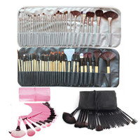 Wholesale full make up bag resale online - 32pcs Set Professional Makeup Brushes Portable Full Cosmetic Make up Brushes Tool Foundation Eyeshadow Lip brush with PU Bag