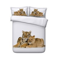 Wholesale leopard print bedding twin sets resale online - Wildlife Tiger Leopard Bed Spread D Bedding Sets White duvet Pieces Duvet Cover Set Comforter Quilt Bedding Cover With Zipper Closure