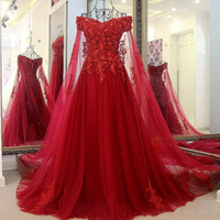 Wholesale blue elegant corset prom dresses for sale - Group buy Elegant Long Red Quinceanera Evening Gowns With Long Cape Tulle Floor Length Off The Shoulder Corset Back A Line Prom Dresses