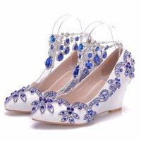 blaue high heel schuhkeile großhandel-Kristall Königin Neue Mode Blau Strass Keile Pumps Schuhe Blau Wasser Bohren Quaste Kette Hochzeit heels High Heels Party Schuhe