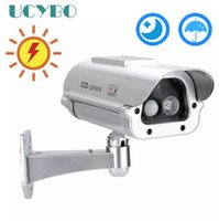 capteurs de vidéosurveillance achat en gros de-Caméra factice factice faux caméra de sécurité extérieure à la maison actionnée solaire avec la lumière infrarouge clignotante de LED + détection de capteur humain