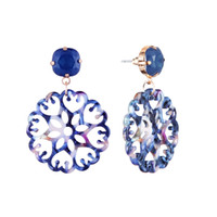 Wholesale jewelry palace china resale online - retro hollowed flowers diamonds dangle earrings for women palace luxury chandelier earring Chinese Blue and white porcelain pattern jewelry
