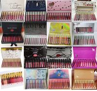 nuevas barras de labios al por mayor-El más nuevo maquillaje de alta calidad 12 colores = 1 juego de brillo de labios mate Lápiz labial duradero a prueba de agua Envío gratuito de DHL