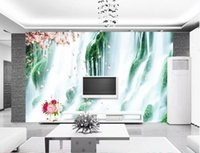 Wholesale art murals for kids resale online - 3d room wallpaper custom photo mural Beautiful waterfall scenery home decor wall art pictures Wall paper large wallpaper for walls d