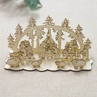 Wholesale church christmas decorations resale online - New Year Stitching Snowman Christmas Decoration For Home Christmas Ornaments Wood Church For Table Decorative